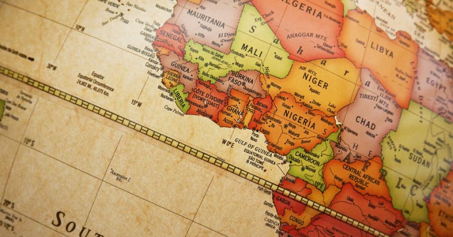 Landkarte Afrika - Ausschnitt um Ghana